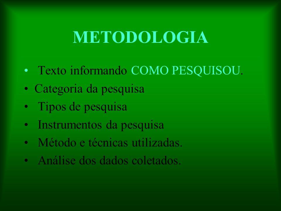 METODOLOGIA Texto informando COMO PESQUISOU. Categoria da pesquisa Tipos de pesquisa Instrumentos da pesquisa Método e técnicas utilizadas. Análise do