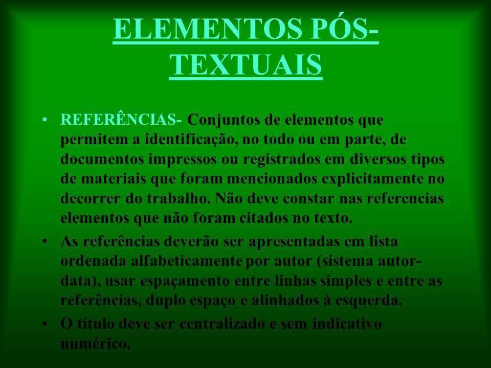 ELEMENTOS PÓS- TEXTUAIS REFERÊNCIAS- Conjuntos de elementos que permitem a identificação, no todo ou em parte, de documentos impressos ou registrados