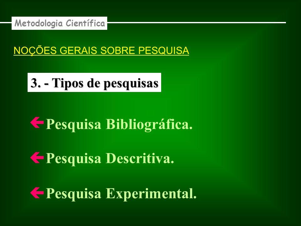 3. - Tipos de pesquisas Pesquisa Bibliográfica. Pesquisa Descritiva. Pesquisa Experimental. Metodologia Científica NOÇÕES GERAIS SOBRE PESQUISA