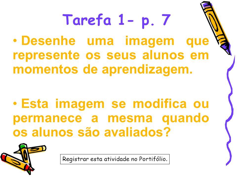 Tarefa 1- p. 7 Desenhe uma imagem que represente os seus alunos em momentos de aprendizagem. Esta imagem se modifica ou permanece a mesma quando os al