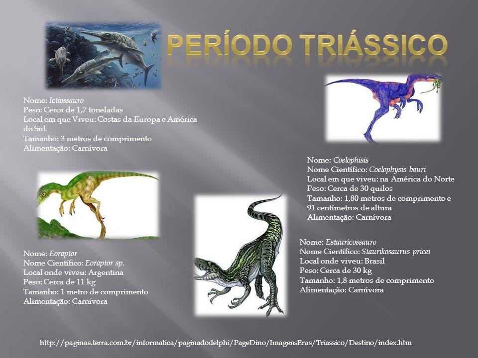 Nome: Ictiossauro Peso: Cerca de 1,7 toneladas Local em que Viveu: Costas da Europa e América do Sul. Tamanho: 3 metros de comprimento Alimentação: Ca