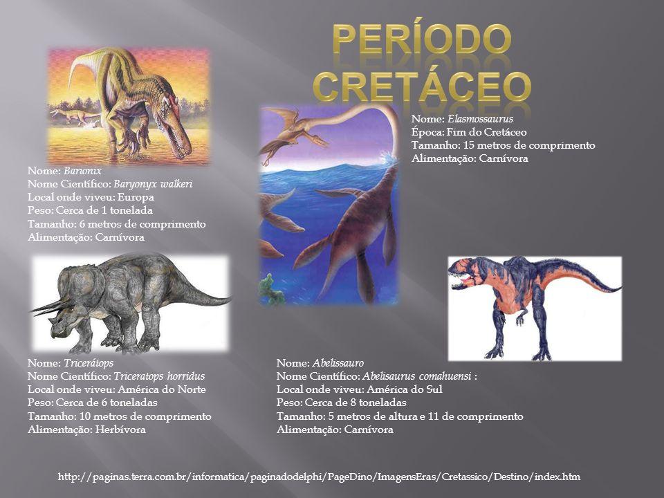 Nome: Barionix Nome Científico: Baryonyx walkeri Local onde viveu: Europa Peso: Cerca de 1 tonelada Tamanho: 6 metros de comprimento Alimentação: Carn