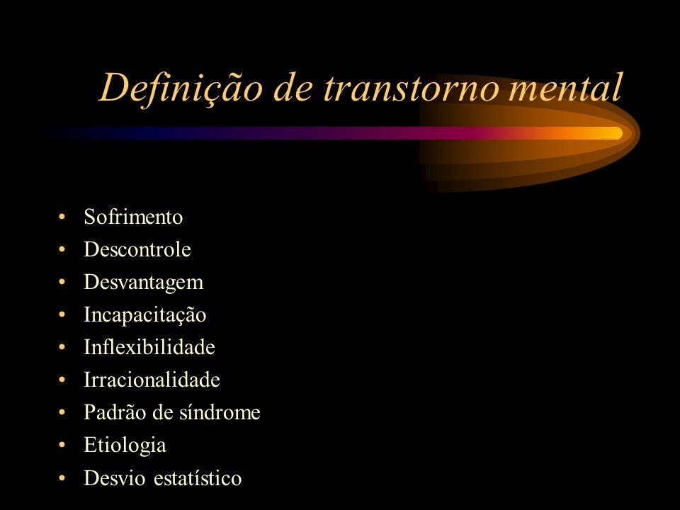 Definição de transtorno mental Sofrimento Descontrole Desvantagem Incapacitação Inflexibilidade Irracionalidade Padrão de síndrome Etiologia Desvio es