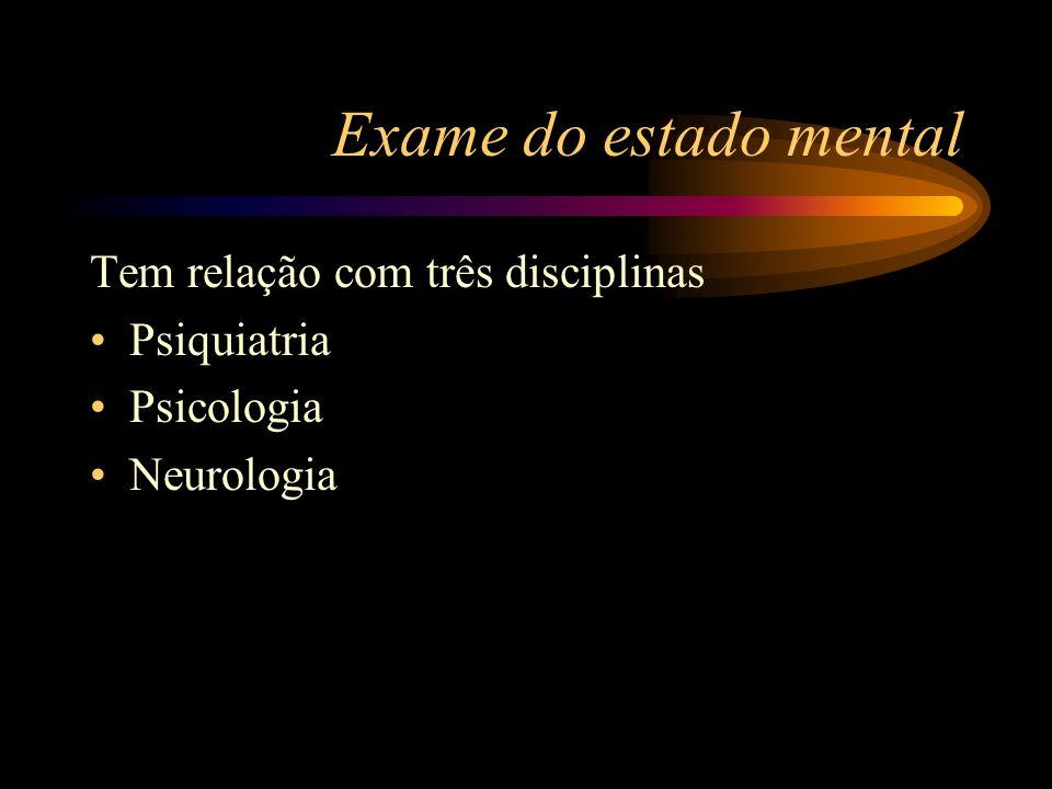 Exame do estado mental Tem relação com três disciplinas Psiquiatria Psicologia Neurologia