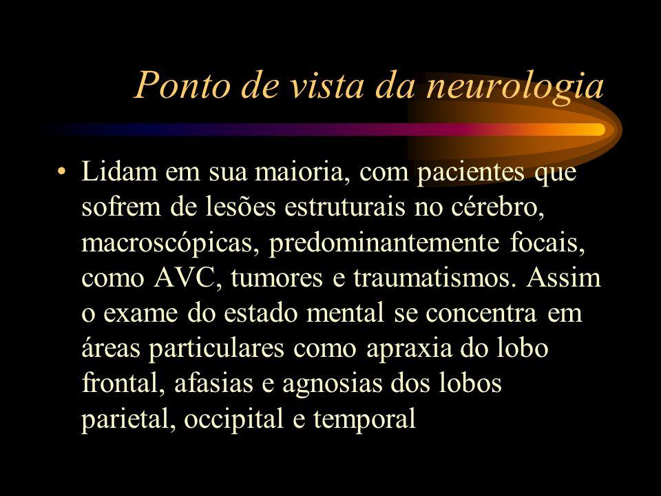 Ponto de vista da neurologia Lidam em sua maioria, com pacientes que sofrem de lesões estruturais no cérebro, macroscópicas, predominantemente focais,