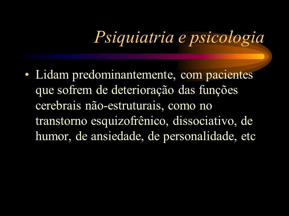 Psiquiatria e psicologia Lidam predominantemente, com pacientes que sofrem de deterioração das funções cerebrais não-estruturais, como no transtorno e