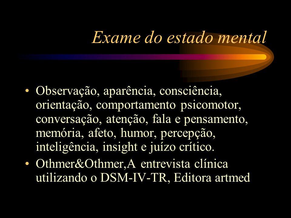 Exame do estado mental Observação, aparência, consciência, orientação, comportamento psicomotor, conversação, atenção, fala e pensamento, memória, afe