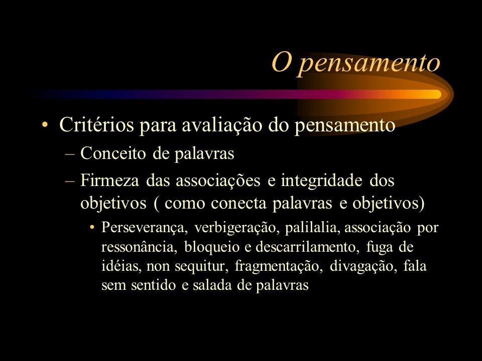 O pensamento Critérios para avaliação do pensamento –Conceito de palavras –Firmeza das associações e integridade dos objetivos ( como conecta palavras