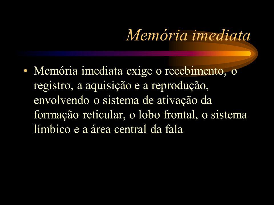 Memória imediata Memória imediata exige o recebimento, o registro, a aquisição e a reprodução, envolvendo o sistema de ativação da formação reticular,