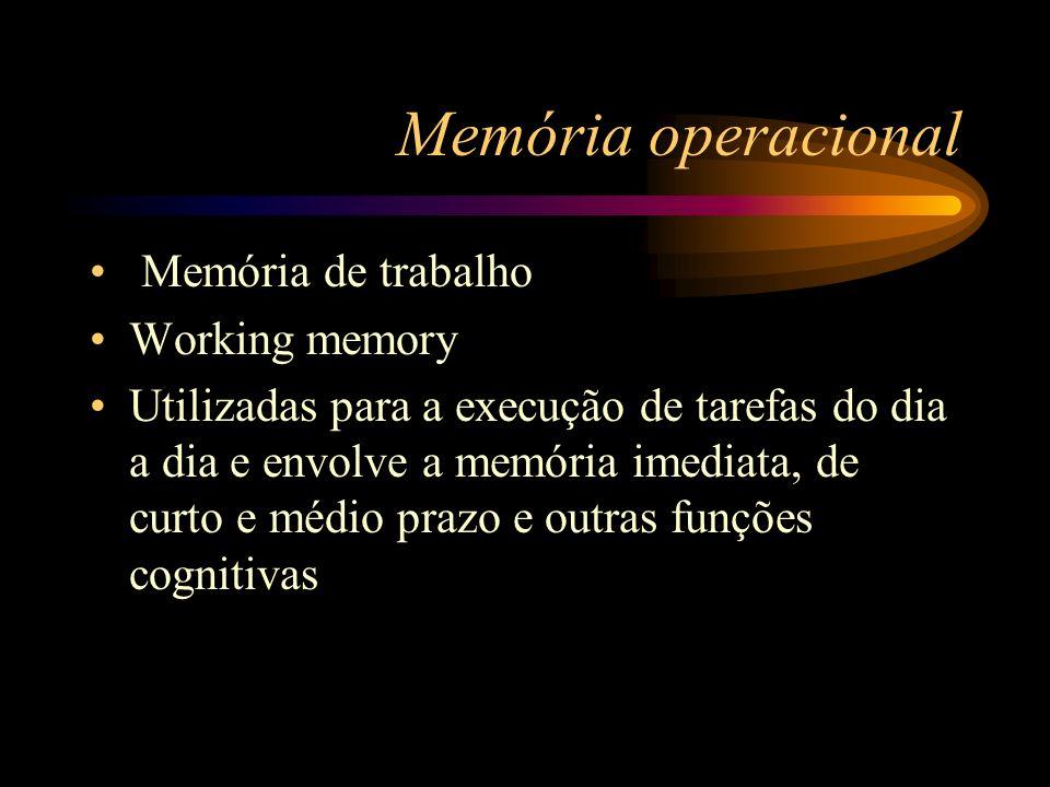 Memória operacional Memória de trabalho Working memory Utilizadas para a execução de tarefas do dia a dia e envolve a memória imediata, de curto e méd