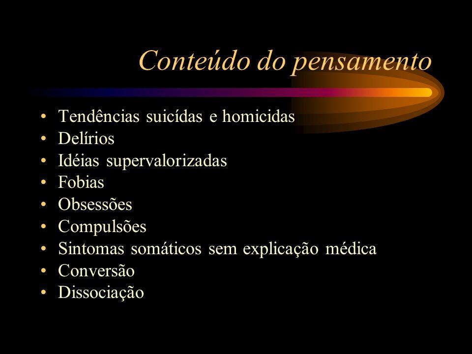 Conteúdo do pensamento Tendências suicídas e homicidas Delírios Idéias supervalorizadas Fobias Obsessões Compulsões Sintomas somáticos sem explicação