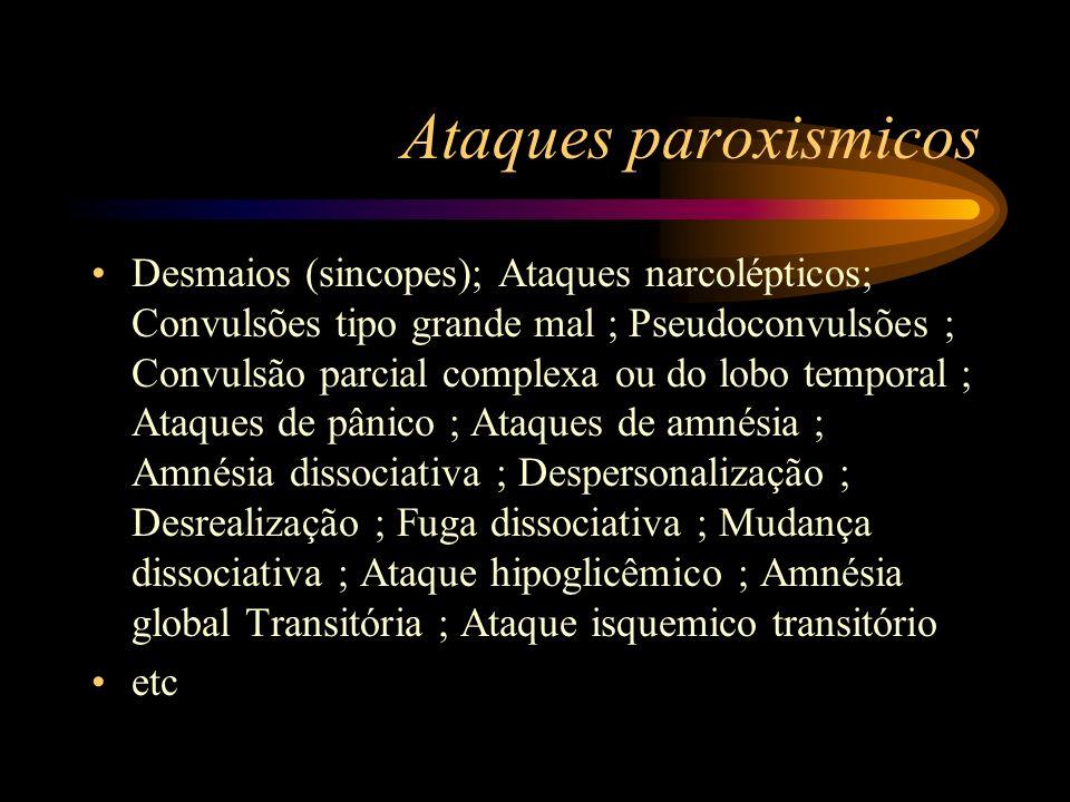 Ataques paroxismicos Desmaios (sincopes); Ataques narcolépticos; Convulsões tipo grande mal ; Pseudoconvulsões ; Convulsão parcial complexa ou do lobo