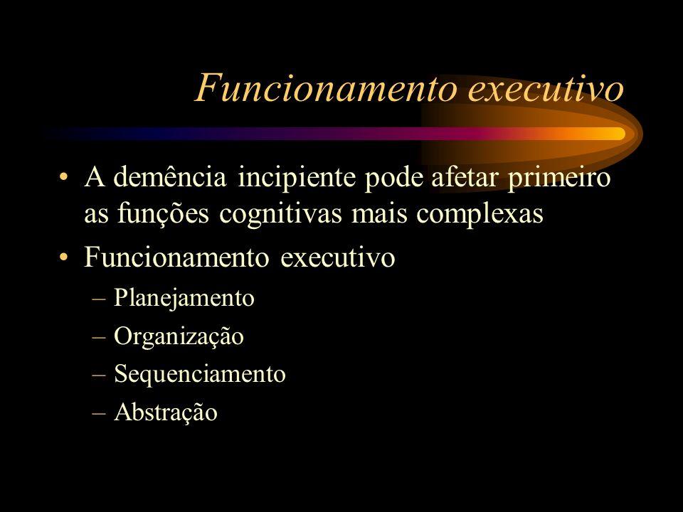 Funcionamento executivo A demência incipiente pode afetar primeiro as funções cognitivas mais complexas Funcionamento executivo –Planejamento –Organiz
