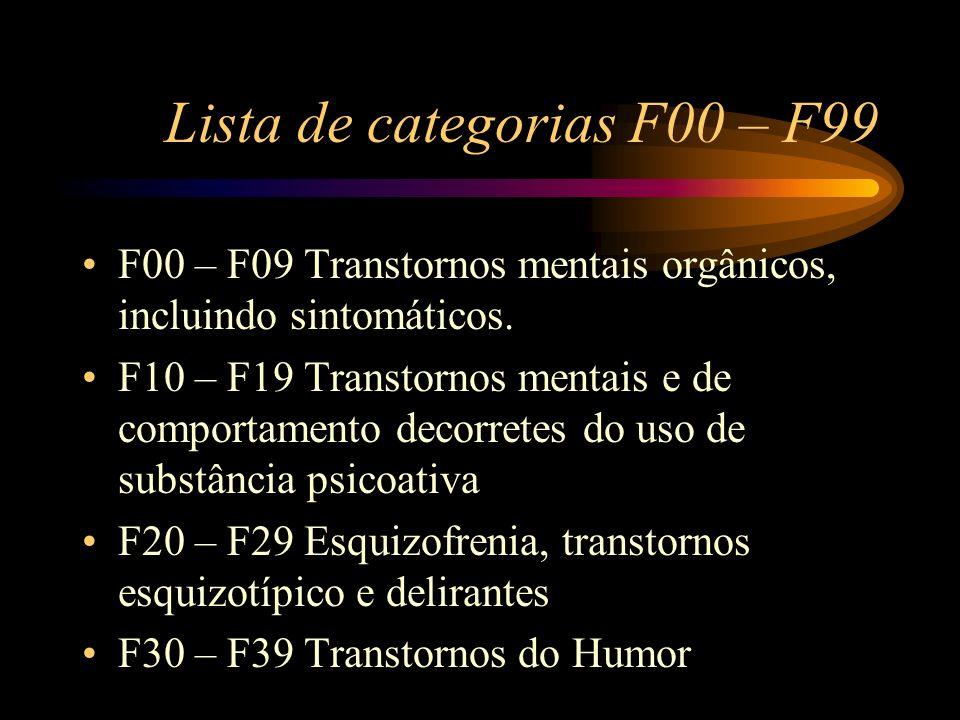 Lista de categorias F00 – F99 F00 – F09 Transtornos mentais orgânicos, incluindo sintomáticos. F10 – F19 Transtornos mentais e de comportamento decorr