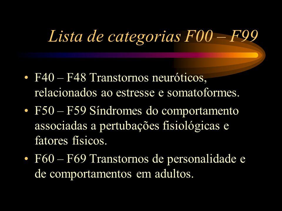 Lista de categorias F00 – F99 F40 – F48 Transtornos neuróticos, relacionados ao estresse e somatoformes. F50 – F59 Síndromes do comportamento associad