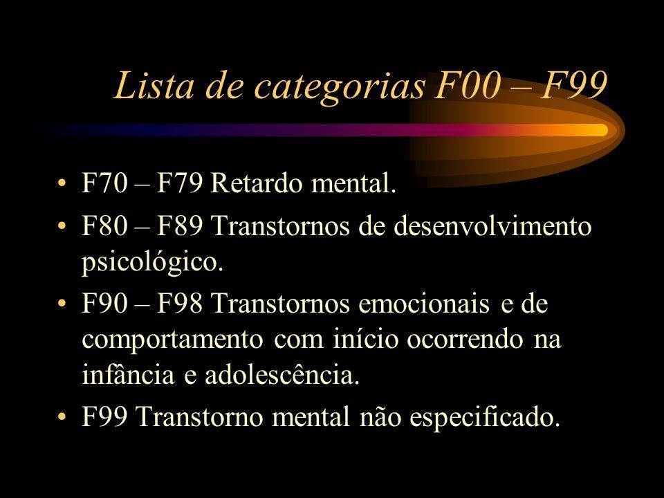Lista de categorias F00 – F99 F70 – F79 Retardo mental. F80 – F89 Transtornos de desenvolvimento psicológico. F90 – F98 Transtornos emocionais e de co