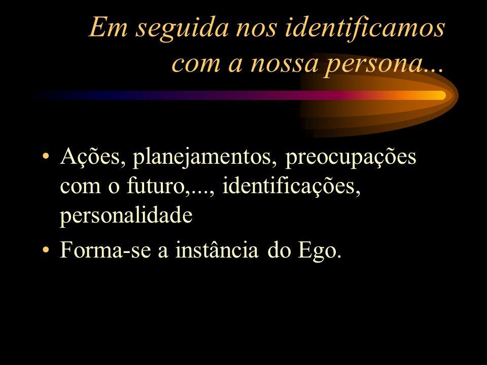 Em seguida nos identificamos com a nossa persona... Ações, planejamentos, preocupações com o futuro,..., identificações, personalidade Forma-se a inst