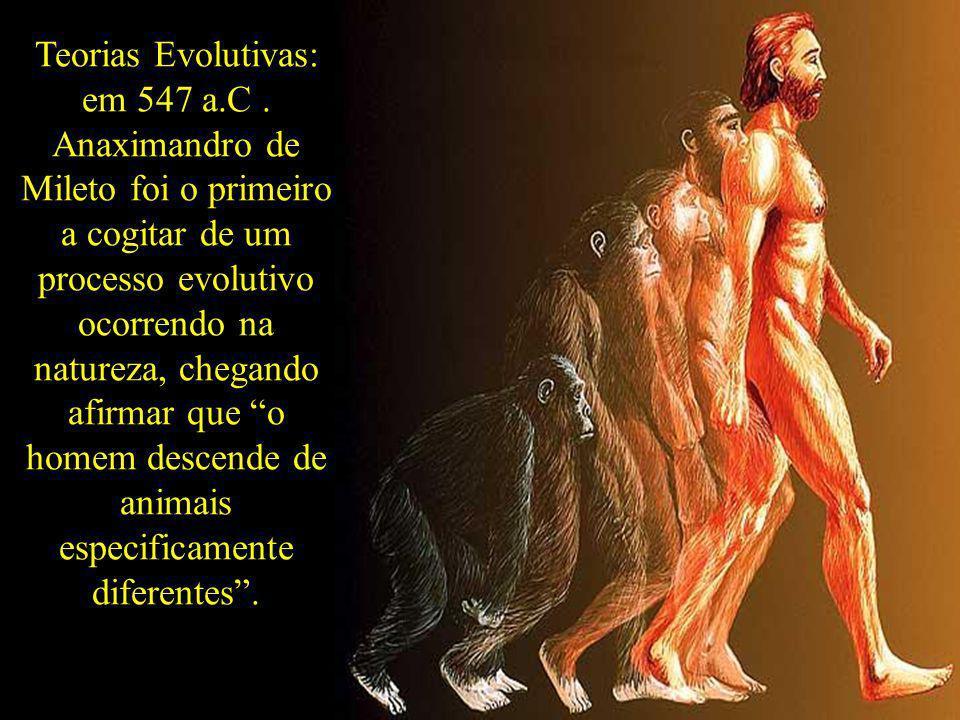 Teorias Evolutivas: em 547 a.C. Anaximandro de Mileto foi o primeiro a cogitar de um processo evolutivo ocorrendo na natureza, chegando afirmar que o