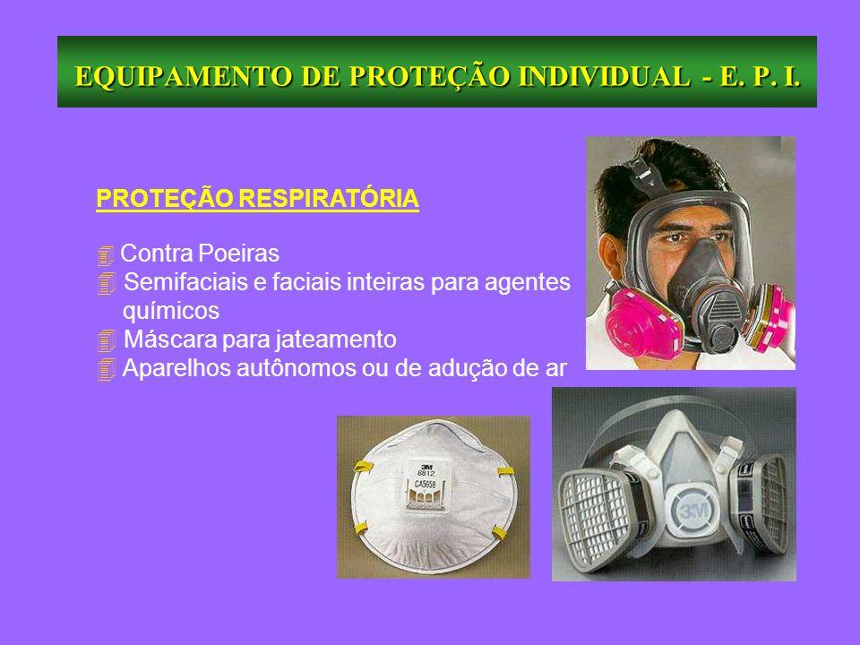 EQUIPAMENTO DE PROTEÇÃO INDIVIDUAL - E. P. I. PROTEÇÃO RESPIRATÓRIA Contra Poeiras 4 Semifaciais e faciais inteiras para agentes químicos 4 Máscara pa
