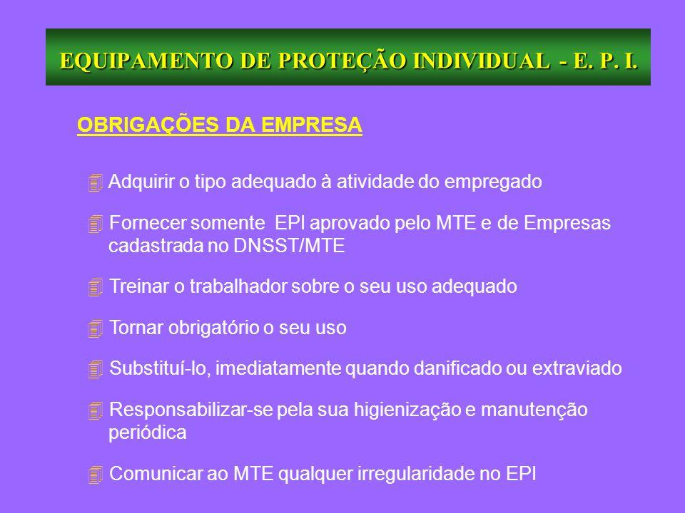 OBRIGAÇÕES DA EMPRESA 4 Adquirir o tipo adequado à atividade do empregado 4 Fornecer somente EPI aprovado pelo MTE e de Empresas cadastrada no DNSST/M