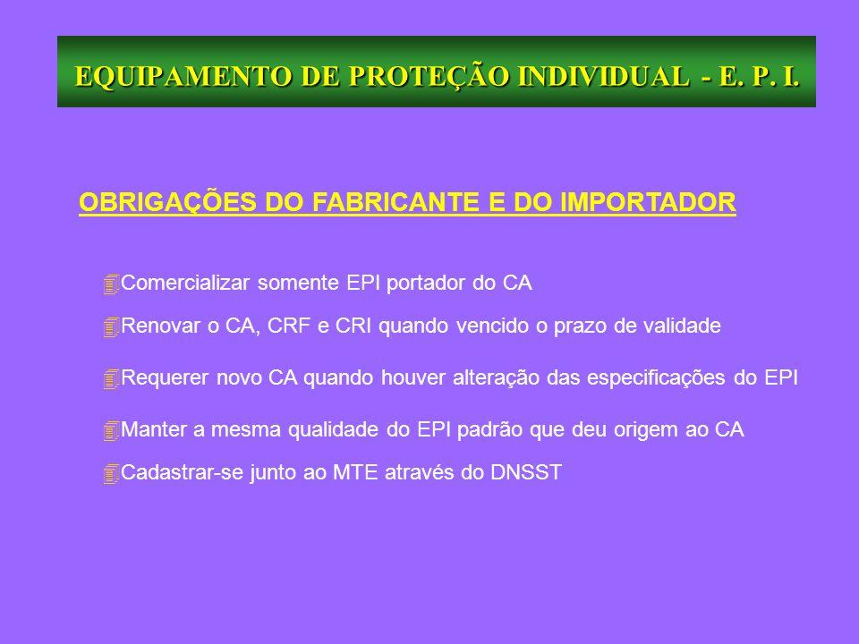 OBRIGAÇÕES DO FABRICANTE E DO IMPORTADOR 4Comercializar somente EPI portador do CA 4Renovar o CA, CRF e CRI quando vencido o prazo de validade 4Requer