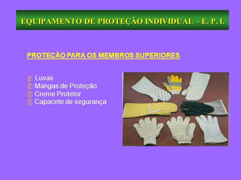 PROTEÇÃO PARA OS MEMBROS SUPERIORES Luvas 4 Mangas de Proteção 4 Creme Protetor Capacete de segurança