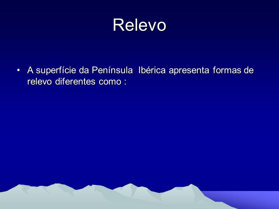 Relevo A superfície da Península Ibérica apresenta formas de relevo diferentes como :