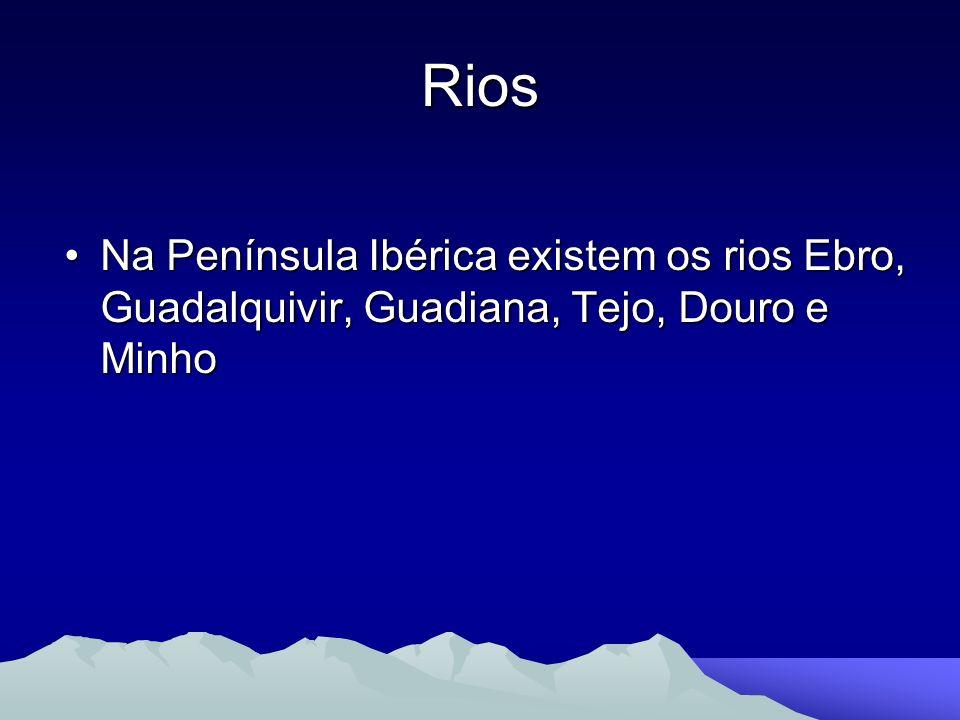 Rios Na Península Ibérica existem os rios Ebro, Guadalquivir, Guadiana, Tejo, Douro e MinhoNa Península Ibérica existem os rios Ebro, Guadalquivir, Gu