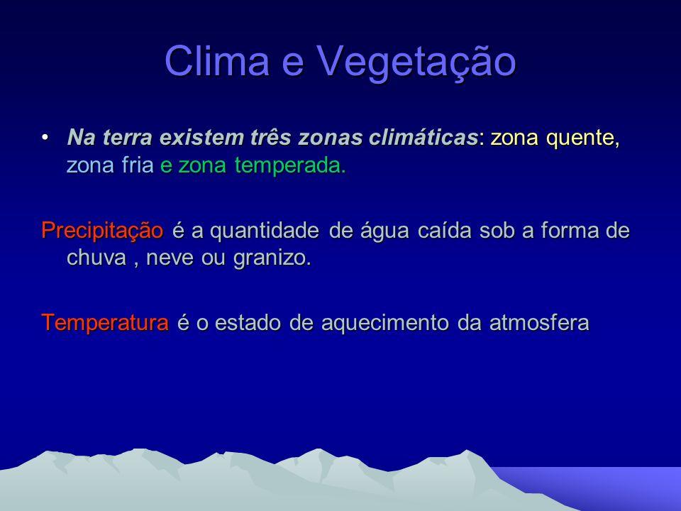 Clima e Vegetação Na terra existem três zonas climáticas: zona quente, zona fria e zona temperada.Na terra existem três zonas climáticas: zona quente,