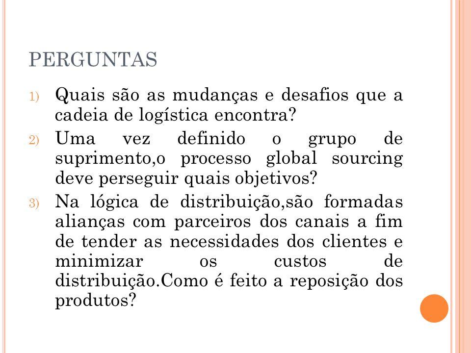PERGUNTAS 1) Quais são as mudanças e desafios que a cadeia de logística encontra? 2) Uma vez definido o grupo de suprimento,o processo global sourcing