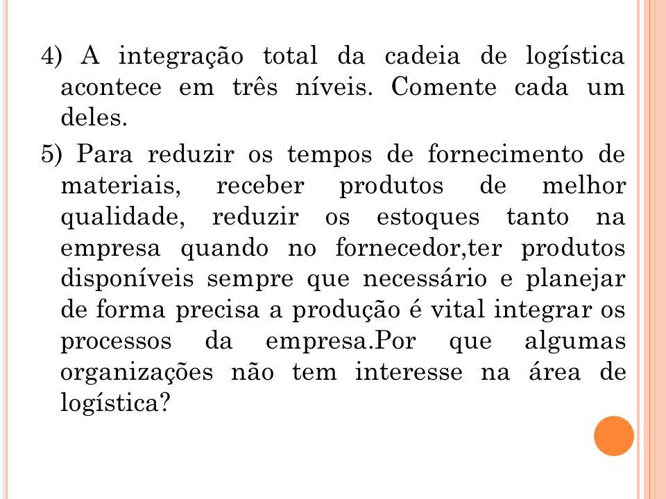 4) A integração total da cadeia de logística acontece em três níveis. Comente cada um deles. 5) Para reduzir os tempos de fornecimento de materiais, r
