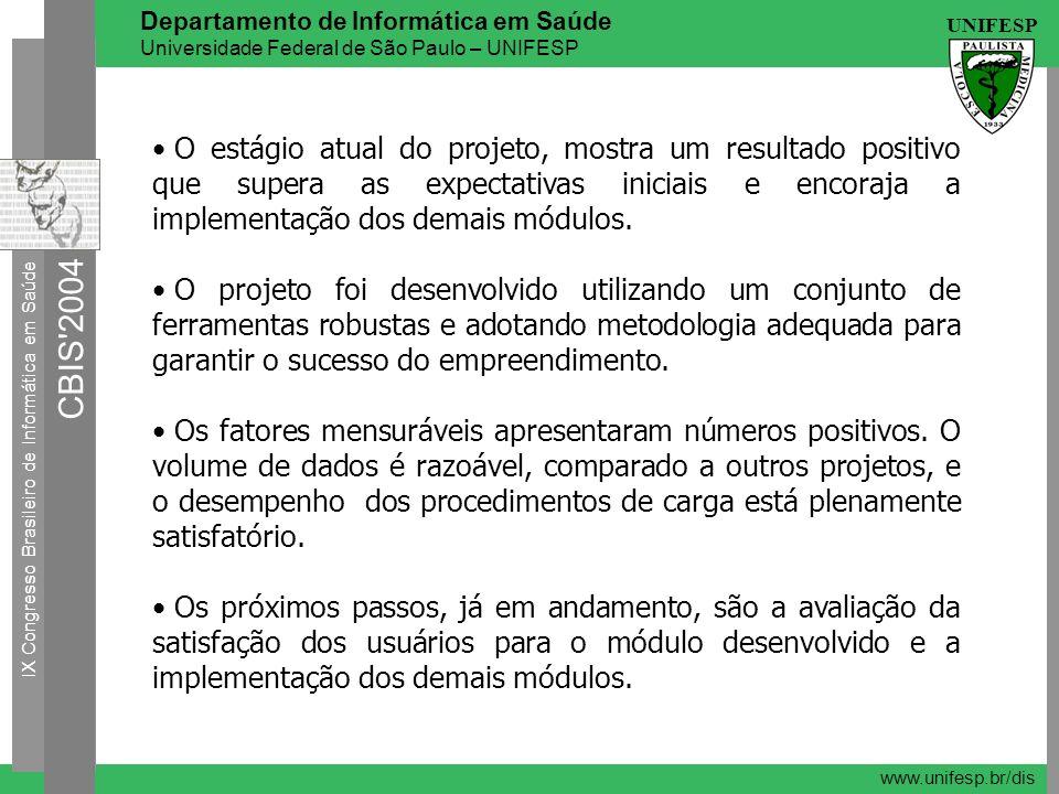 IX Congresso Brasileiro de Informática em Saúde CBIS'2004 UNIFESP Departamento de Informática em Saúde Universidade Federal de São Paulo – UNIFESP www