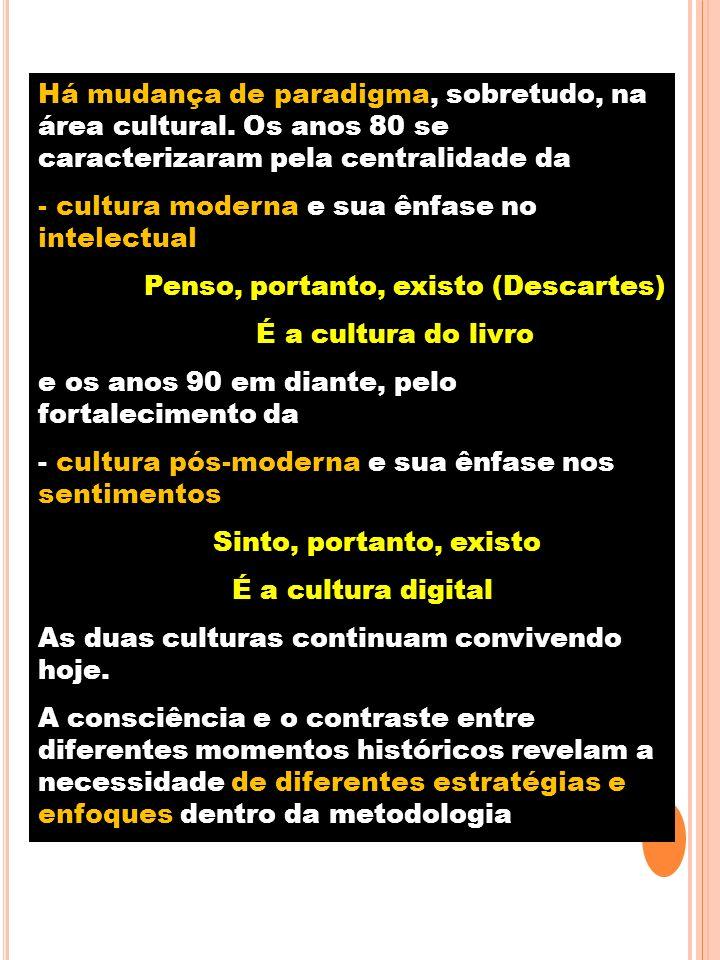 Há mudança de paradigma, sobretudo, na área cultural. Os anos 80 se caracterizaram pela centralidade da - cultura moderna e sua ênfase no intelectual