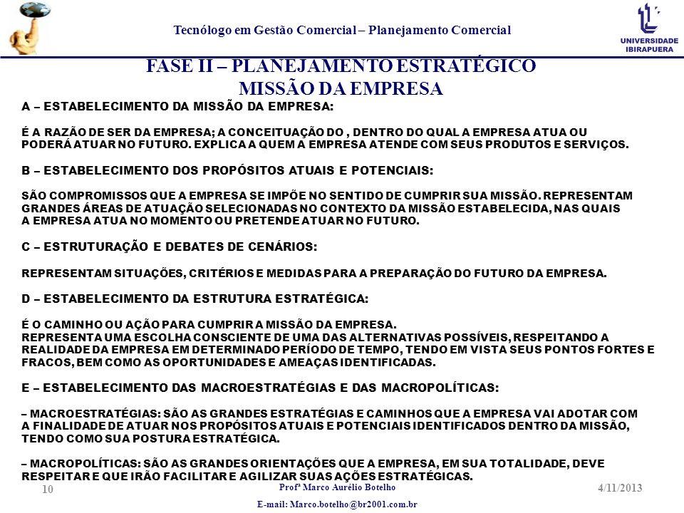 Profª Marco Aurélio Botelho E-mail: Marco.botelho@br2001.com.br Tecnólogo em Gestão Comercial – Planejamento Comercial 4/11/2013 10 FASE II – PLANEJAM