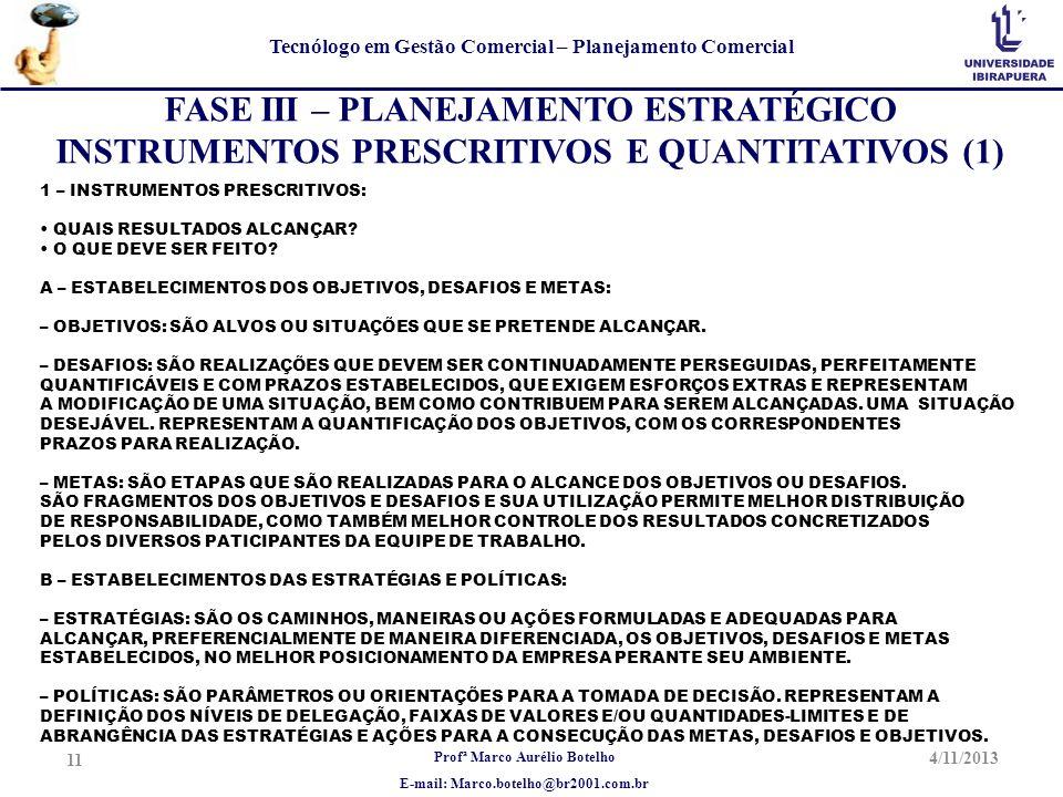 Profª Marco Aurélio Botelho E-mail: Marco.botelho@br2001.com.br Tecnólogo em Gestão Comercial – Planejamento Comercial 4/11/2013 11 FASE III – PLANEJA