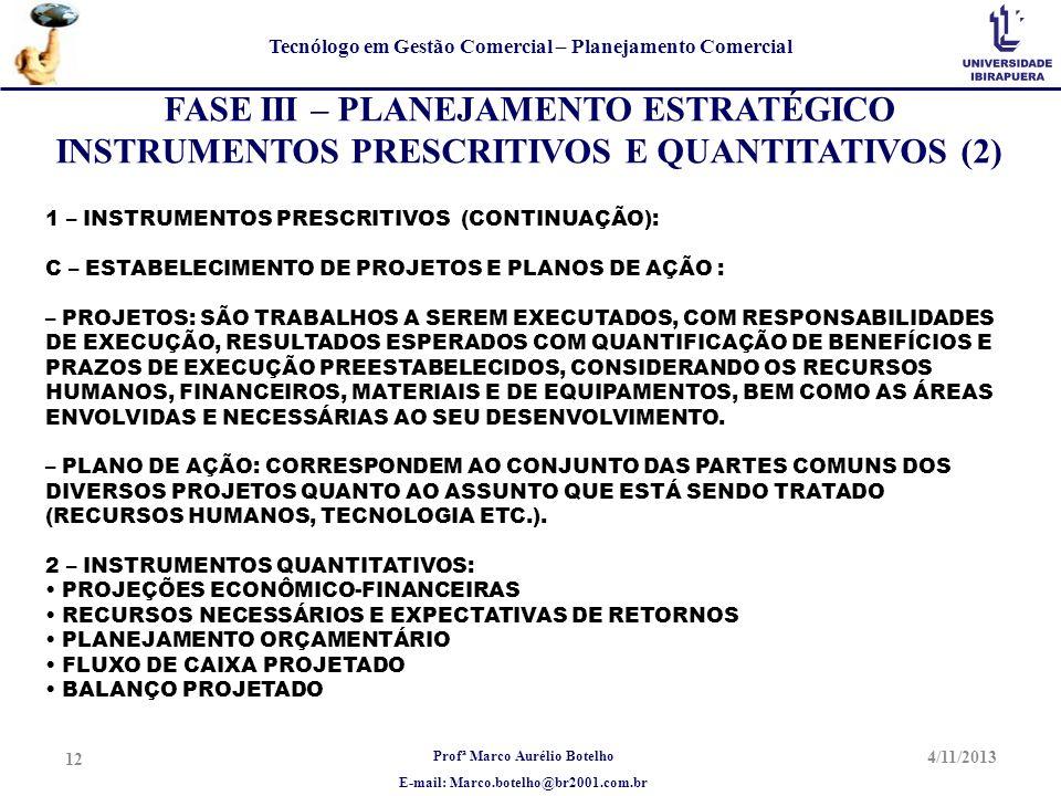 Profª Marco Aurélio Botelho E-mail: Marco.botelho@br2001.com.br Tecnólogo em Gestão Comercial – Planejamento Comercial 4/11/2013 12 FASE III – PLANEJA