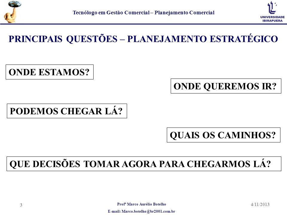 Profª Marco Aurélio Botelho E-mail: Marco.botelho@br2001.com.br Tecnólogo em Gestão Comercial – Planejamento Comercial 4/11/2013 3 PRINCIPAIS QUESTÕES