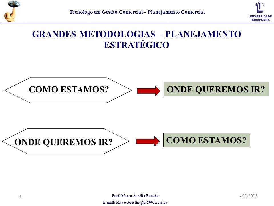 Profª Marco Aurélio Botelho E-mail: Marco.botelho@br2001.com.br Tecnólogo em Gestão Comercial – Planejamento Comercial 4/11/2013 4 GRANDES METODOLOGIA