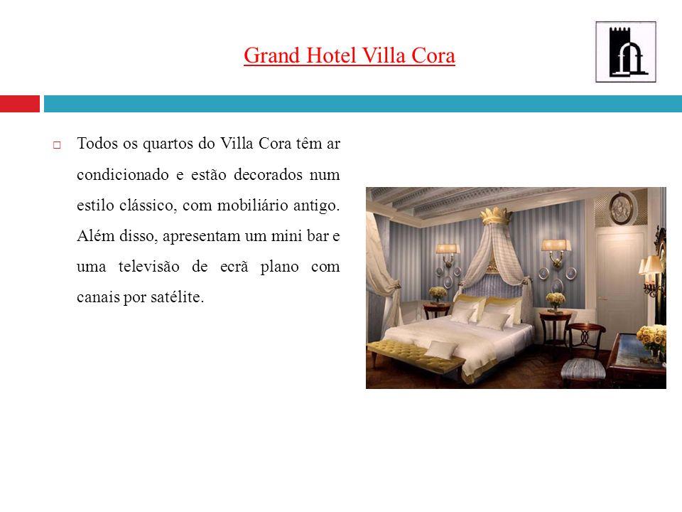 Grand Hotel Villa Cora Todos os quartos do Villa Cora têm ar condicionado e estão decorados num estilo clássico, com mobiliário antigo. Além disso, ap