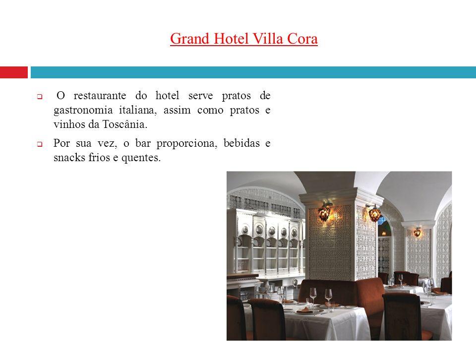Grand Hotel Villa Cora O restaurante do hotel serve pratos de gastronomia italiana, assim como pratos e vinhos da Toscânia. Por sua vez, o bar proporc