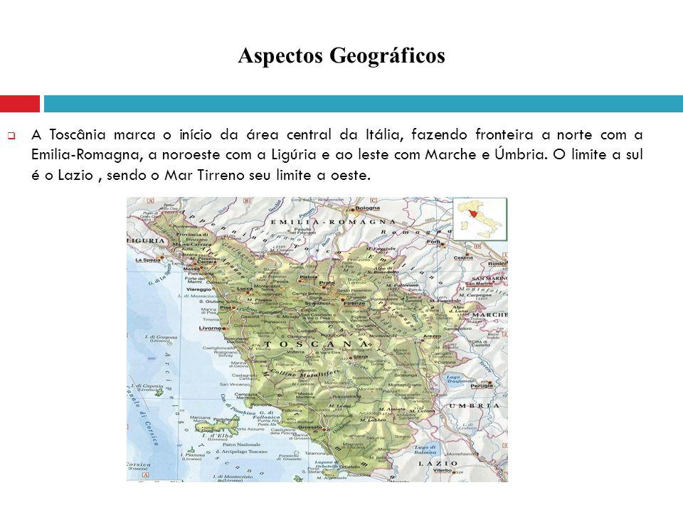 A Toscânia marca o início da área central da Itália, fazendo fronteira a norte com a Emilia-Romagna, a noroeste com a Ligúria e ao leste com Marche e