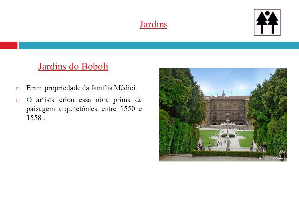 Jardins Eram propriedade da família Médici. O artista criou essa obra prima da paisagem arquitetónica entre 1550 e 1558. Jardins do Boboli
