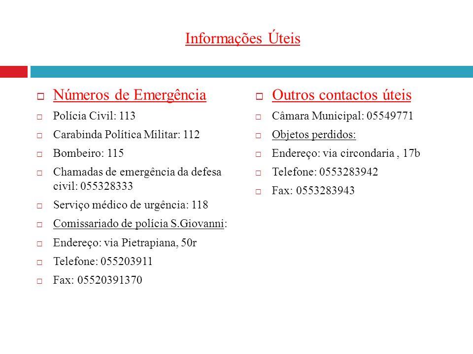Informações Úteis Números de Emergência Polícia Civil: 113 Carabinda Política Militar: 112 Bombeiro: 115 Chamadas de emergência da defesa civil: 05532