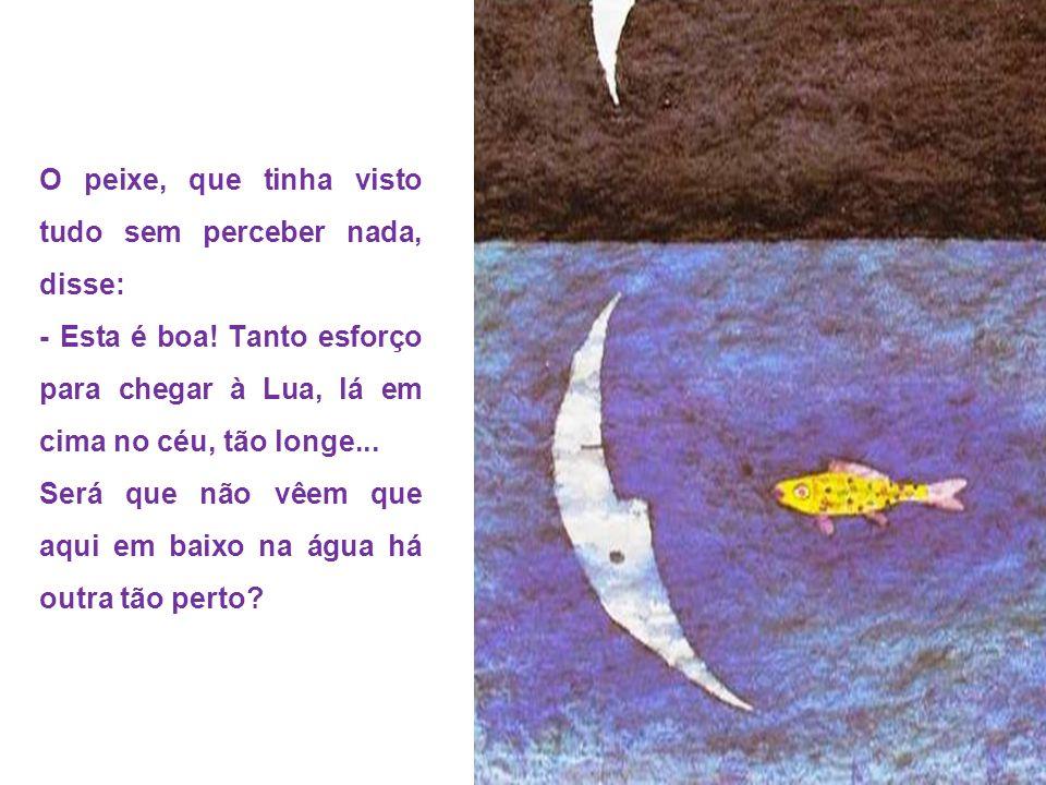 O peixe, que tinha visto tudo sem perceber nada, disse: - Esta é boa! Tanto esforço para chegar à Lua, lá em cima no céu, tão longe... Será que não vê