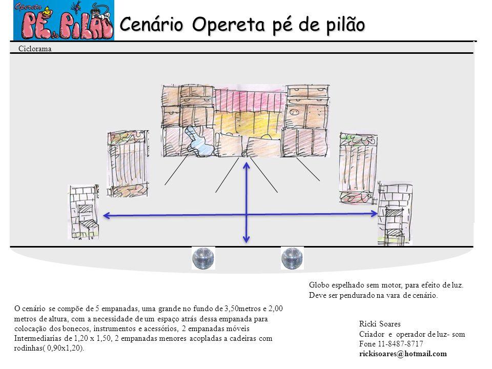 Cenário Opereta pé de pilão O cenário se compõe de 5 empanadas, uma grande no fundo de 3,50metros e 2,00 metros de altura, com a necessidade de um esp