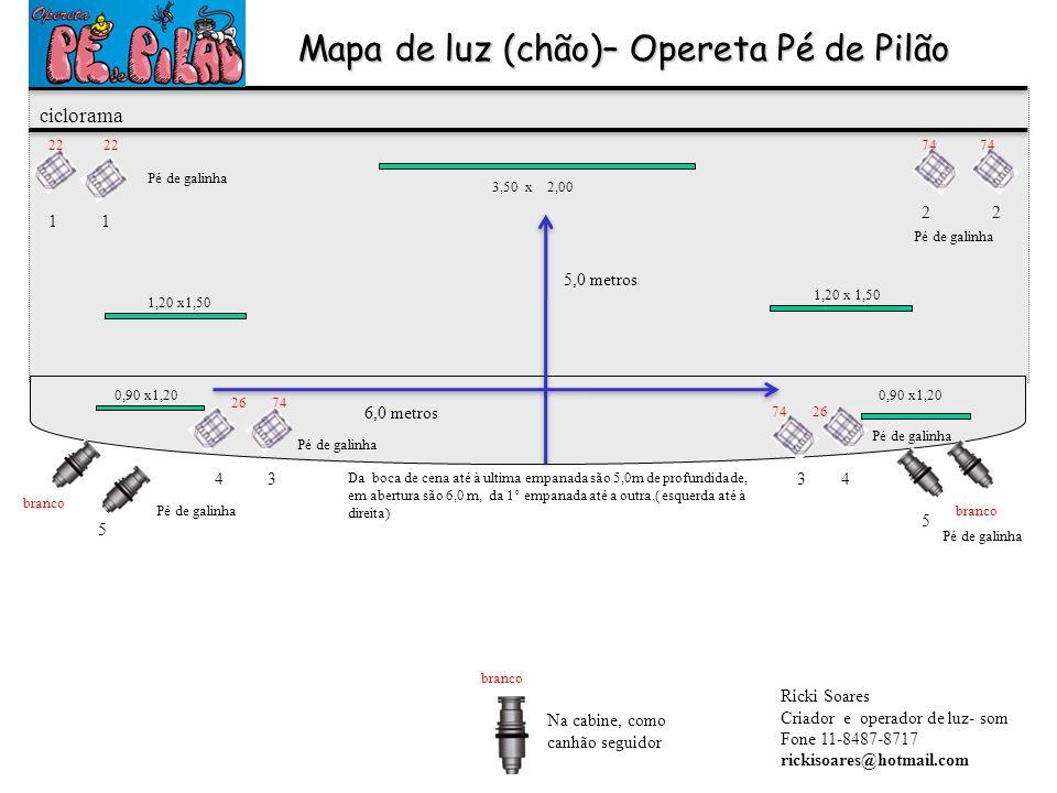 3,50 x 2,00 Mapa de luz (chão)– Opereta Pé de Pilão 1,20 x1,50 0,90 x1,20 1,20 x 1,50 ciclorama 1 2 3 44 3 5 5 Ricki Soares Criador e operador de luz-