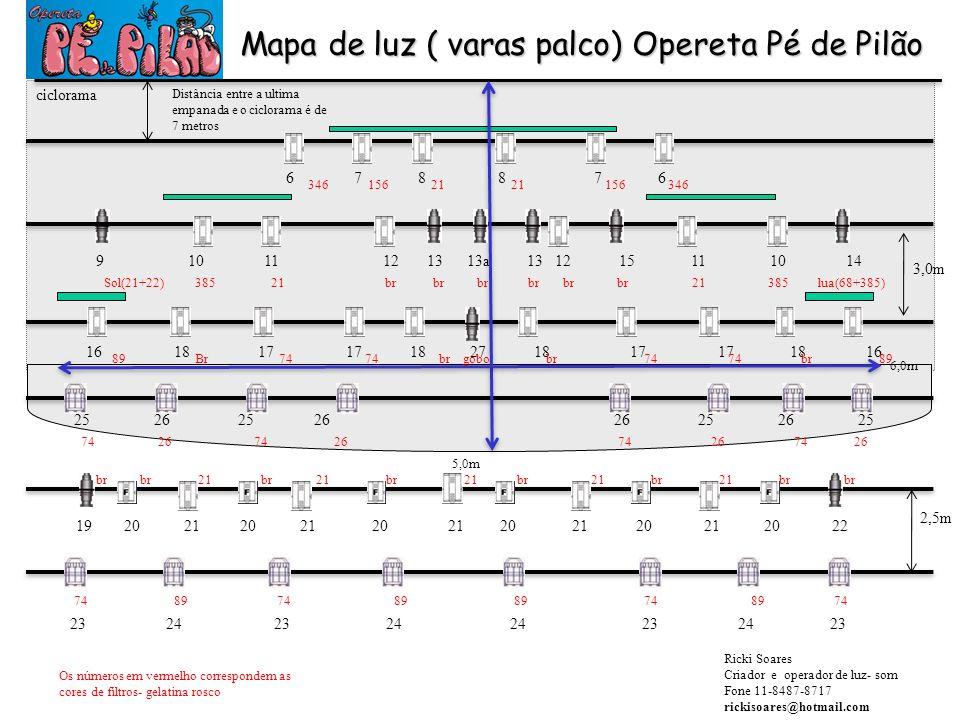 Mapa de luz ( varas palco) Opereta Pé de Pilão ciclorama 6 7 8 8 7 6 9 10 11 12 13 13a 13 12 15 11 10 14 16 18 17 17 18 27 18 17 17 18 16 25 26 25 26