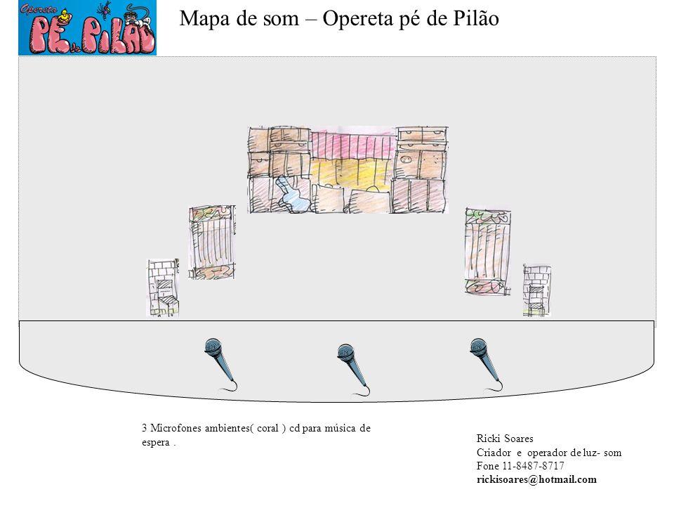Mapa de som – Opereta pé de Pilão 3 Microfones ambientes( coral ) cd para música de espera. Ricki Soares Criador e operador de luz- som Fone 11-8487-8