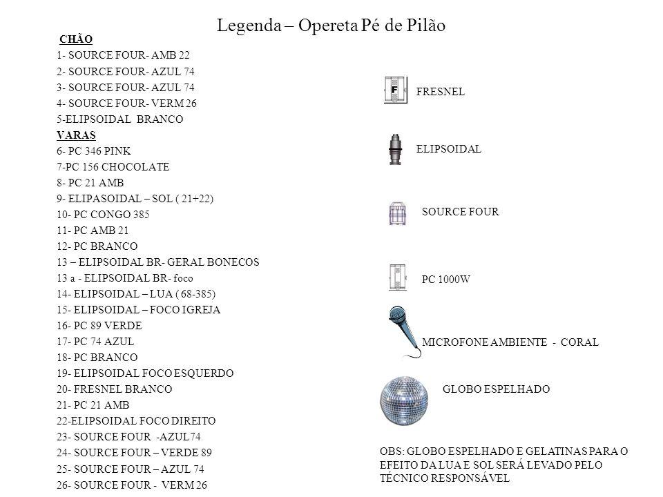 Legenda – Opereta Pé de Pilão CHÃO 1- SOURCE FOUR- AMB 22 2- SOURCE FOUR- AZUL 74 3- SOURCE FOUR- AZUL 74 4- SOURCE FOUR- VERM 26 5-ELIPSOIDAL BRANCO