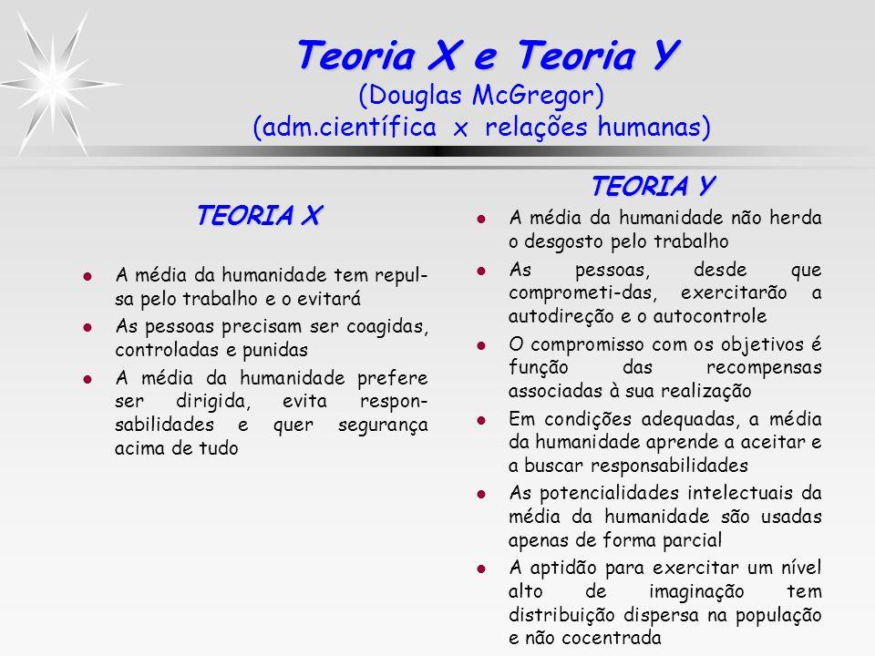 Teoria X e Teoria Y Teoria X e Teoria Y (Douglas McGregor) (adm.científica x relações humanas) TEORIA X l A média da humanidade tem repul- sa pelo tra